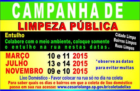 CAMPANHA DE LIMPEZA PÚBLICA: Atenção às datas de coleta