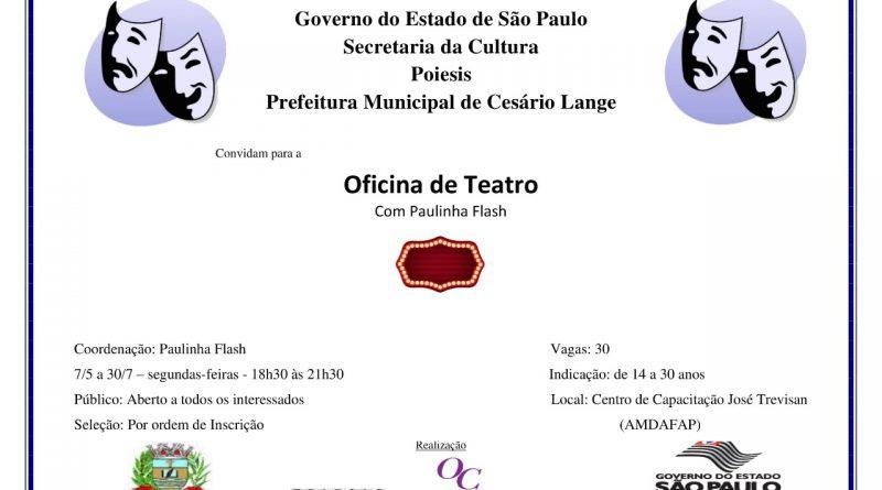 VEM AÍ MAIS UMA OFICINA CULTURAL EM CESÁRIO LANGE!